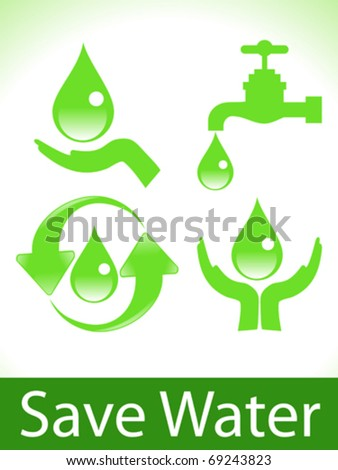 abstract green save water icons vector illustration - stock vector