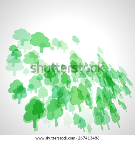 abstract green scattered tree vector background, cloudy perspective - stock vector