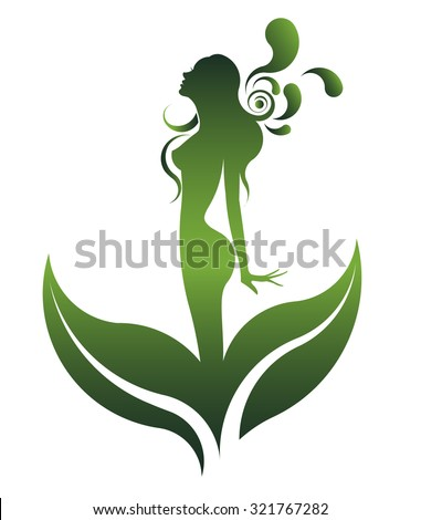 abstract green shape of  beautiful woman icon cosmetic and spa, logo women on white background, vector - stock vector