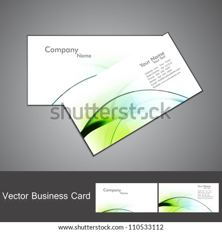 abstract green shiny colorful wave marketing business card set design - stock vector