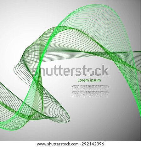 Abstract green smooth lines on gray background with text