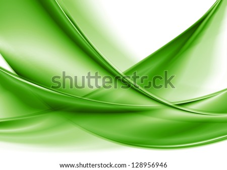 Abstract green smooth waves. Vector background eps 10 - stock vector