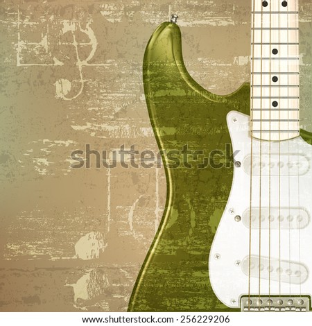 abstract green sound grunge background with electric guitar - stock vector