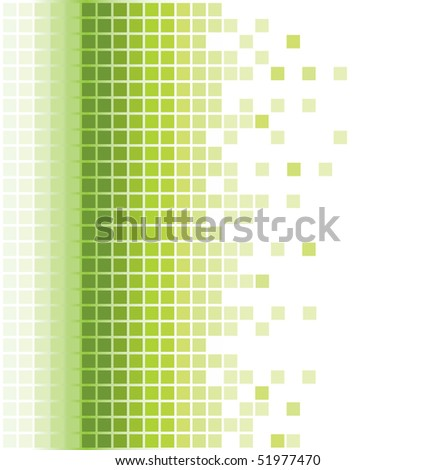 abstract green square pixel mosaic background - stock vector