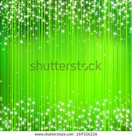 Abstract Green Stripped Background with Stars  - stock vector