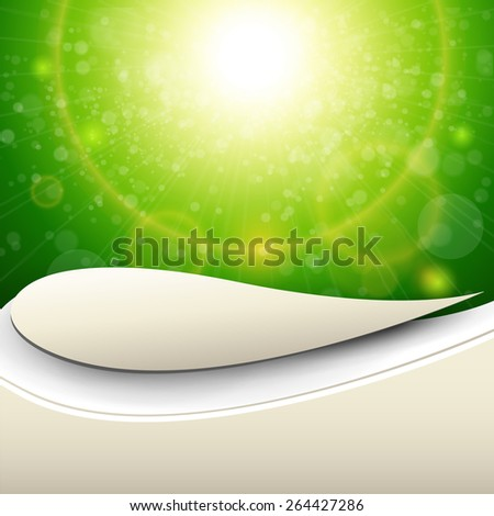 Abstract green sunny background, vector illustration. - stock vector