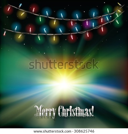 Abstract green sunrise background with Christmas lights and stars - stock vector