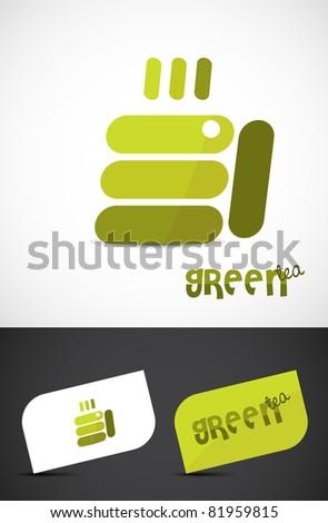 Abstract green-tea cup icon such logo, vector EPS10. - stock vector