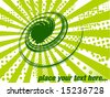 Abstract green tornado splast halftone background with rays - stock vector
