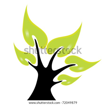 abstract green tree, symbol of nature - stock vector