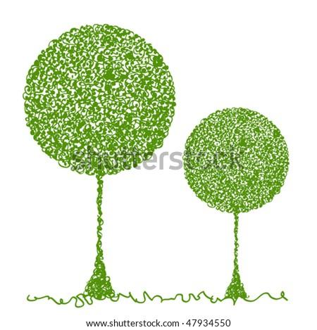 abstract green tree vector illustration - stock vector