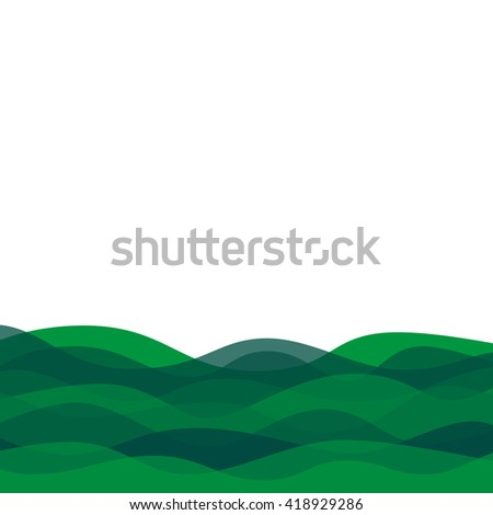 Abstract green waves background. Background with light and dark green waves. Overlapping green waves background. - stock vector
