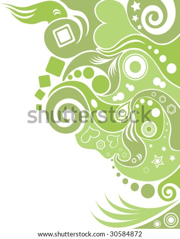 abstract green waves background vector - stock vector