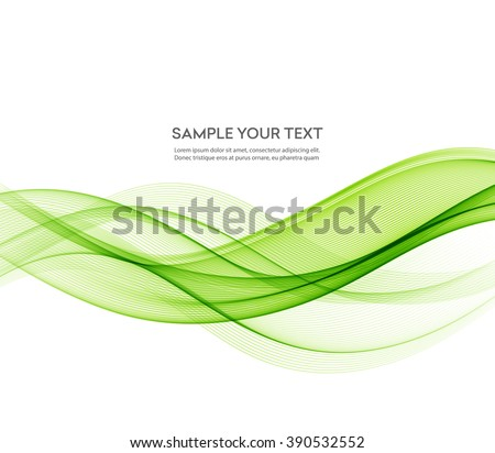 Abstract green wavy lines. Colorful vector background.  Green smoke wave. Transparent green  wave lines.