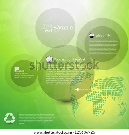 Abstract green website template - stock vector