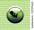 Abstract green womb with human embryo silhouette on a background with green honey cells. Birth concept - stock vector