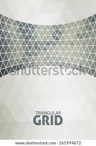 Abstract greenish-gray background with a curved line consisting of triangles. Vector pattern - stock vector
