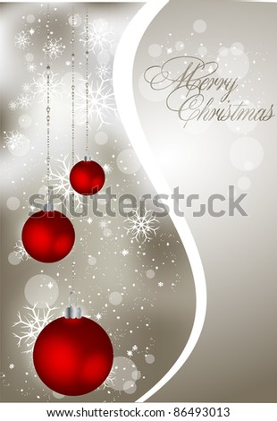 abstract greeting card with xmas balls - stock vector