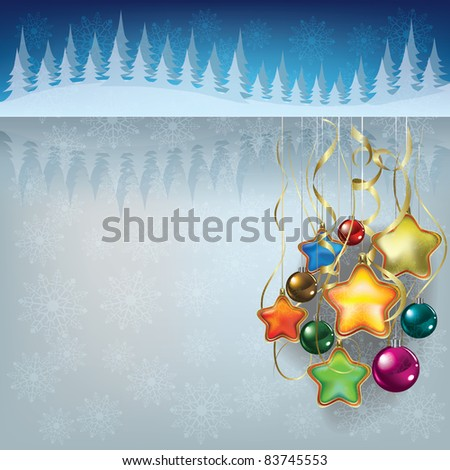 Abstract greeting with Christmas decorations on grey - stock vector
