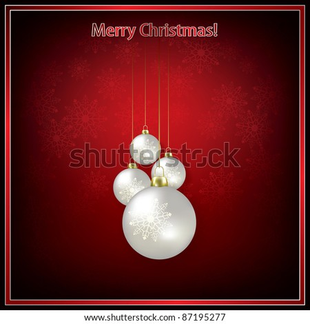Abstract greeting with Christmas decorations on red - stock vector