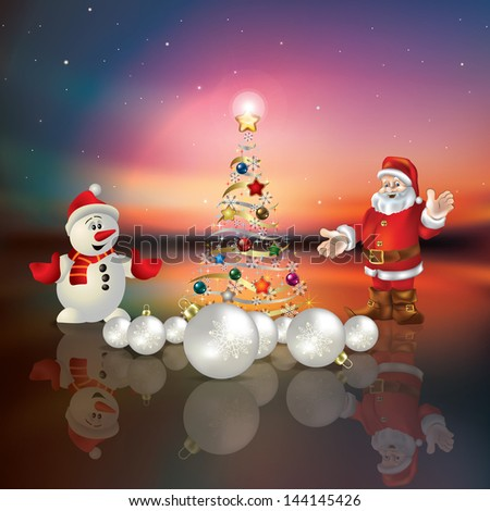 Abstract greeting with Christmas tree Santa Claus and snowman - stock vector