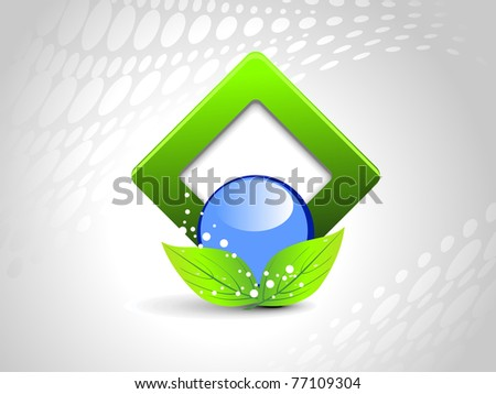 abstract grey background with isolated ecology icon, illustration