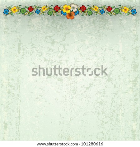 abstract grey grunge background with spring flowers