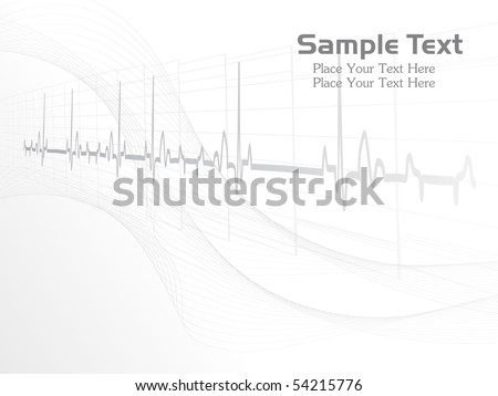 abstract grey heart beat, wavy background for doctor day - stock vector