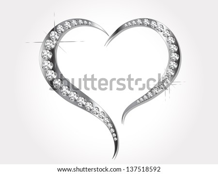 Abstract grey heart with silver diamonds - stock vector