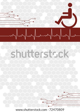 abstract grey honeycomb background with disable person - stock vector