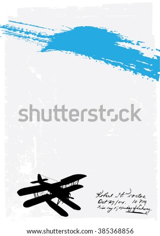 Abstract Grunge Background with Airplane