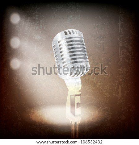 abstract grunge background with retro microphone and spotlights - stock vector