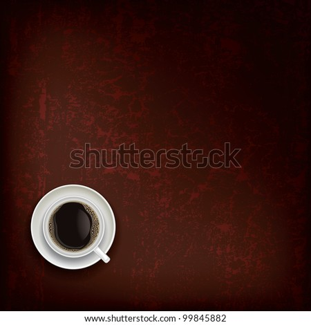 abstract grunge brown background with coffee cup - stock vector