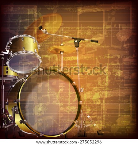abstract grunge brown cracked music symbols vintage background with drum kit - stock vector