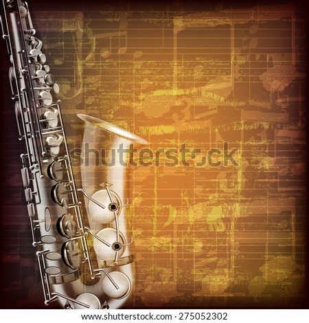 abstract grunge brown cracked music symbols vintage background with saxophone - stock vector
