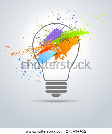 Abstract grunge color creative bulb for concepts - stock vector