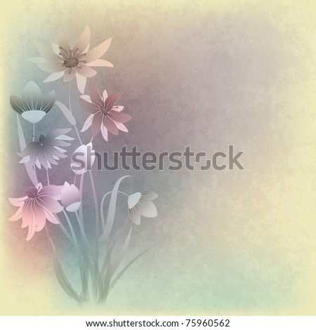 abstract grunge composition with flowers on beige background