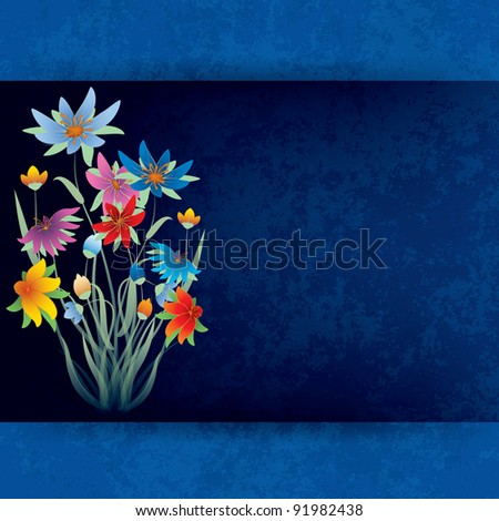 abstract grunge composition with spring flowers on blue background - stock vector