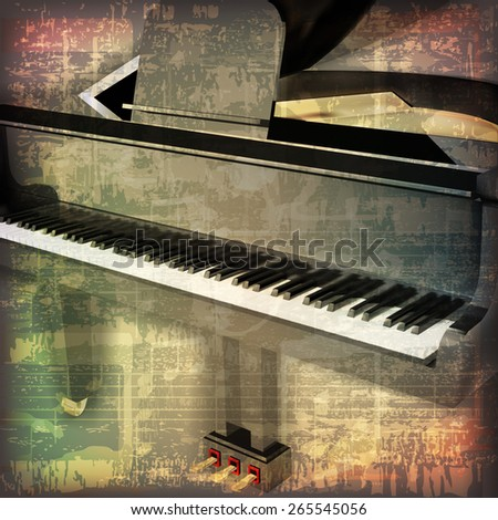 abstract grunge cracked music symbols vintage background with grand piano  - stock vector