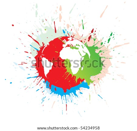 abstract grunge globe in ink spate, vector illustration.