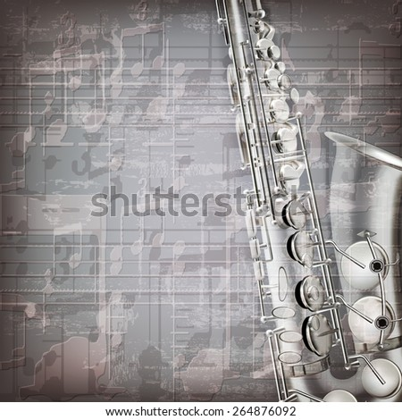 abstract grunge gray music background with saxophone - stock vector