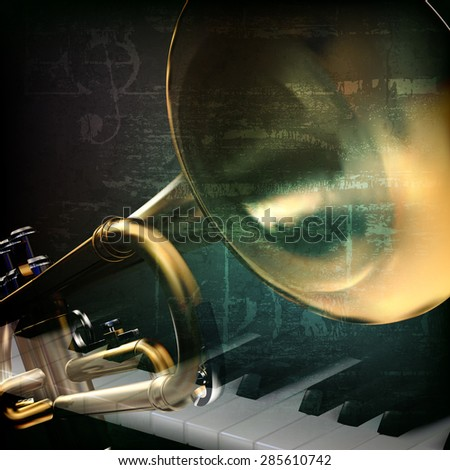 abstract grunge green vintage music background with trumpet and piano keys - stock vector
