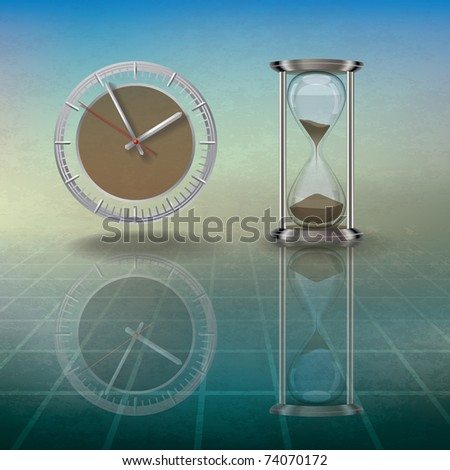 abstract grunge illustration with hourglass and clock on blue - stock vector