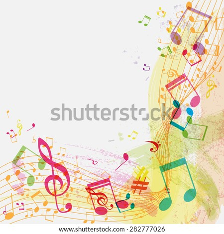 Abstract grunge music background with notes, vector illustration