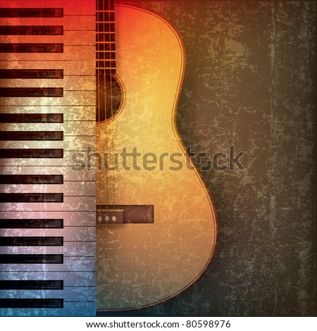 abstract grunge music background with piano and guitar - stock vector