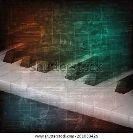 abstract grunge music background with piano keys - stock vector