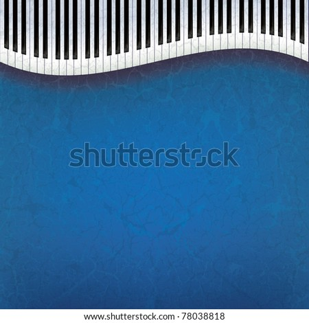 abstract grunge music background with piano keys on blue - stock vector