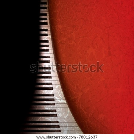 abstract grunge music background with piano keys on red - stock vector