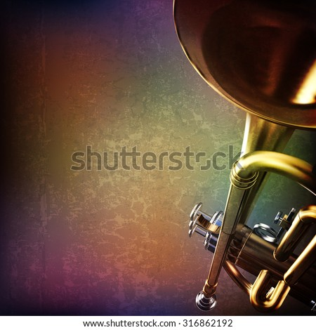abstract grunge music background with trumpet on brown vector illustration - stock vector