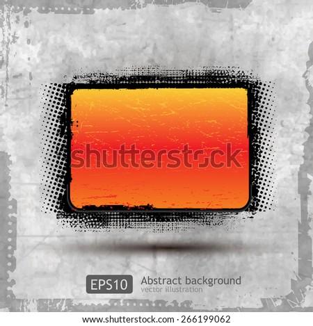 Abstract Grunge Orange Banner design element - vector - stock vector
